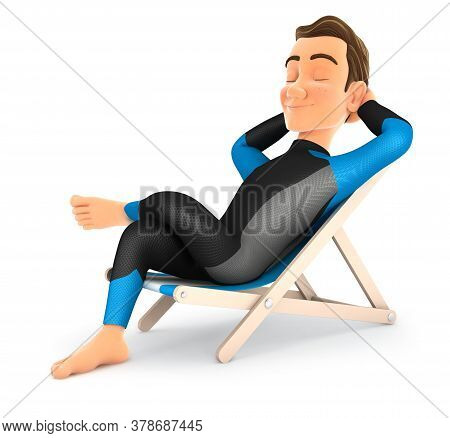 3d Surfer Relaxing In A Deck Chair, Illustration With Isolated White Background