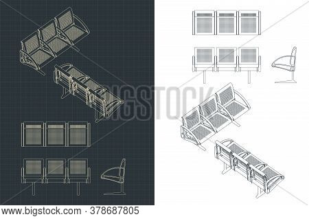 Stylized Vector Illustration Of Drawings Of Airport Seats
