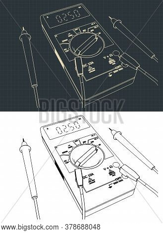 Stylized Vector Illustration On The Theme Of Microelectronics. Digital Multimeter Drawings.