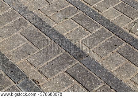 Part Of The Road Made Of Concrete Tile Technology, High-quality But Relatively Dangerous Part Of The