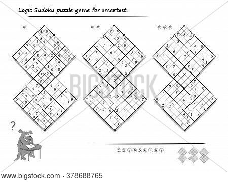 Set Of Diagonal Sudoku Puzzles. 3 Difficulty Levels. Logic Game For Children And Adults. Printable P