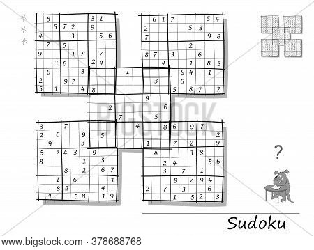 Logic Sudoku Game For Children And Adults. Big Size Puzzle With 5 Squares, Difficult Level. Printabl