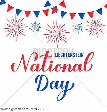 Liechtenstein National Day Calligraphy Hand Lettering. Liechtenstein Independence Day Typography Pos