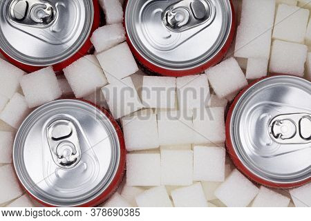 White Sugar Cubes With Soda Can Fullframe As Background
