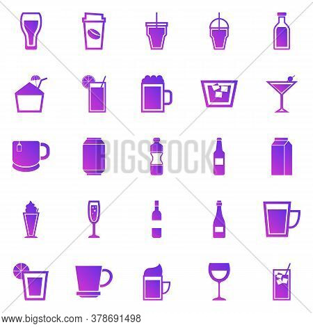 Beverage Gradient Icons On White Background, Stock Vector