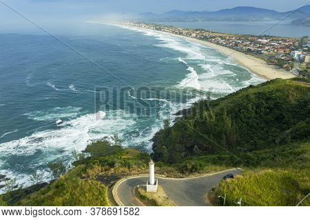 Long Beach, Lagoon, Sea And Hill. Picturesque Landscape. Ponta Negra Beach, City Of Ponta Negra, Sta