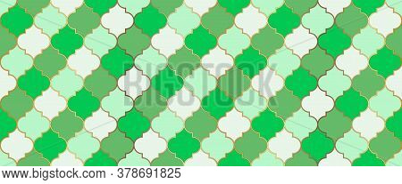 Traditional Ramadan Golden Mosque Grid. Persian Mosque Window Motif. Moroccan Seamless Pattern Eid M