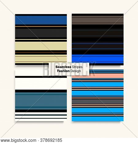 Sailor Stripes Seamless Pattern Set. Modern Lines Endless Design. Spring Winter Vintage Fashion Fabr