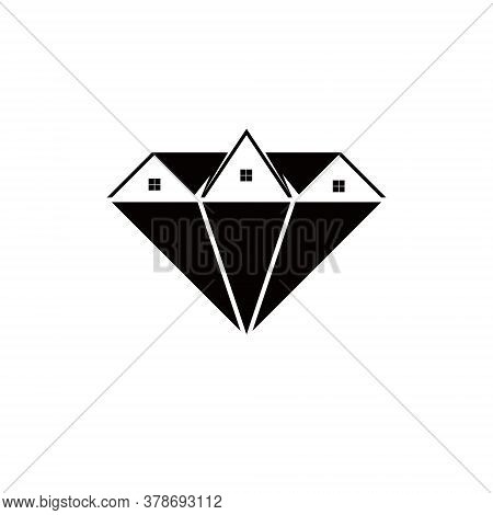 Property Logo Simple Modern Roof And Royal Diamond Geometric For Premium House Investment Design Ide