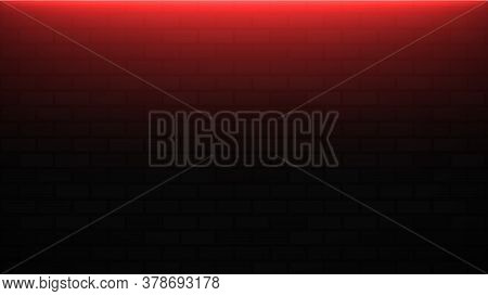 Empty Brick Wall With Red Neon Light With Copy Space. Lighting Effect Red Color Glow On Brick Wall B