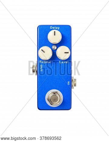 Stomp Box Electric Guitar Signal Delay Effects Foot Pedal Isolated On White Background With Clipping
