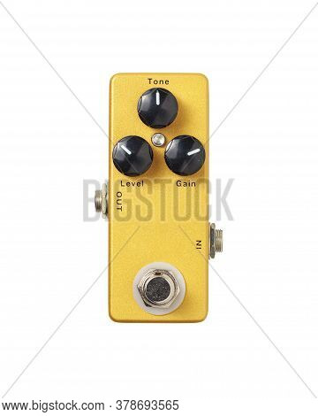 Stomp Box Electric Guitar Signal Distortion Gold Effects Foot Pedal Isolated On White Background Wit