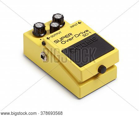 Bangkok, Thailand - July 15, 2020: Boss Electric Guitar Effects Pedals  Model Super Overdrive Sd-1.