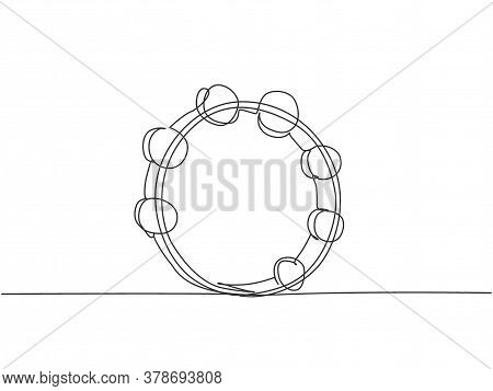 One Continuous Line Drawing Of Round Circle Tambourine. Dynamic Percussion Music Instruments Concept