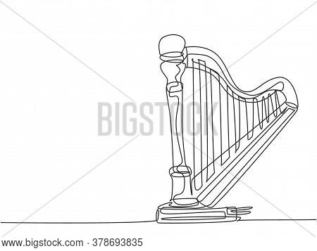 One Single Line Drawing Of Elegant Classical Harp. Stringed Music Instruments Concept. Modern Contin