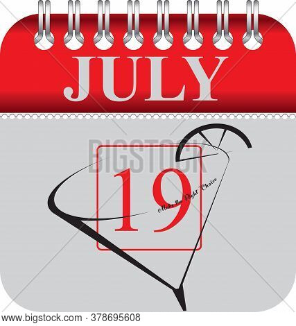 Calendar With Perforation For Changing Dates - July Daiquiri Day