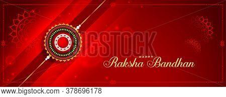 Lovely Raksha Bandhan Red Shiny Banner Design