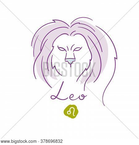 Leo Illustration, Handwriting, Symbol On White Background. Vector Illustration