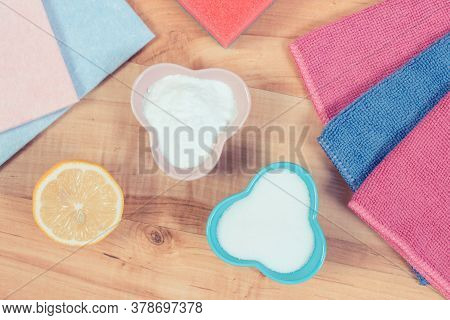 Accessories And Natural Detergents For Cleaning Different Surfaces And Rooms At Home, Concept Of Hou