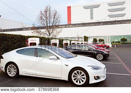 Fremont, Ca - January 25, 2020: Tesla Model S Charging At Supercharger Station At Tesla Factory In F