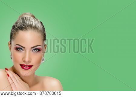 Sexy Woman With Red Lips On Background Emerald Shade Green Color