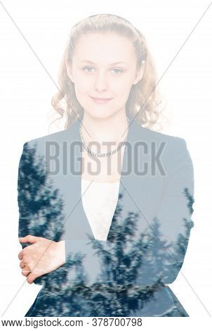 Portrait Of Beautiful Blonde Young Woman With Nice Look. On White, Double Multiple Exposure Effect,c
