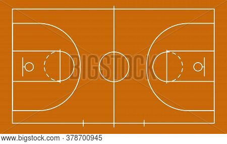 Isolated Basketball Field For Ball Game On The Field In Orange. Competitive Sport On The Site. Stadi