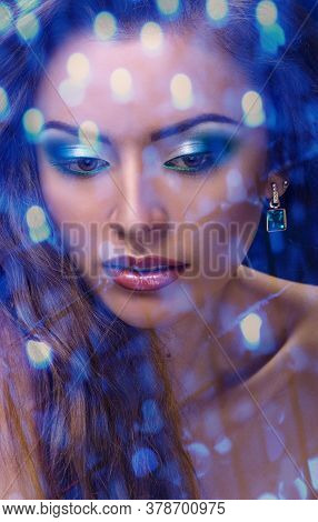 Face Of Young Woman With Makeup Close, Double Multiple Exposure Effect, Combined Images