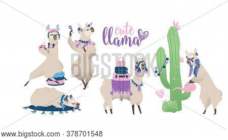 Set With A Cute Llama From Peru Or South America For Print, Cards And Posters.