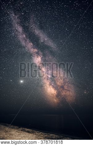 Nightscape Of Milky Way Galaxy. Astrophoto And Seashore. Night Photography