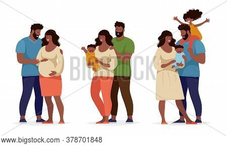 A Set About Family And Childbirth. Black Afro Family With Children, Husband And Pregnant Wife. Mom A