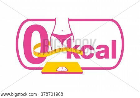 0 Kcal Marking Emblem - Stamp For Packaging Of Zero Calories Diet Food Packaging - Zero Sign Stands