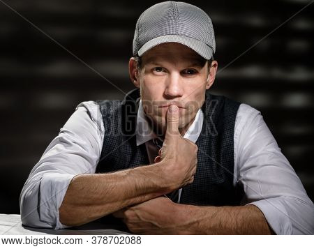 Toned Photo Of Thoughtful Stylish Man In Retro Outfit