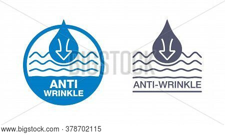 Anti-wrinkle Emblem - Icon With Smoothing Waves (wrinkles) And Drop Of Gel, Cream Or Fluid - Stamp F