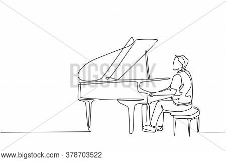 Single Continuous Line Drawing Of Young Happy Male Pianist Playing Classic Grand Piano On Music Conc