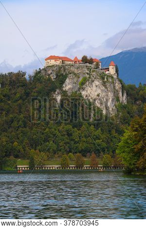 Bled Castle Is A Medieval Castle Built On A Precipice Above The City Of Bled, Overlooking Lake Bled
