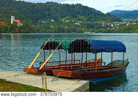 Bled Slovenia, September 30, 2019: Pleasure Boats For Tourists