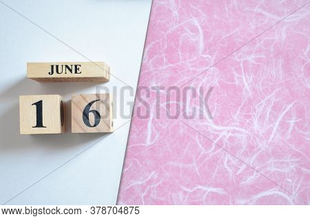 June 16, Empty White - Pink Background With Number Cube.