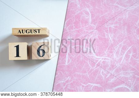 August 16, Empty White - Pink Background With Number Cube.