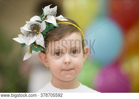 Belarus, The City Of Gomil, May 30, 2019. Open Day At Kindergarten. Portrait Of A Funny Girl. Little