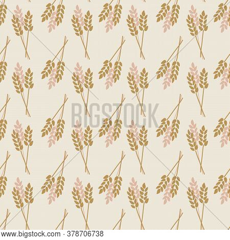 Crop Oat Wheat Barley Rye Plant Seamless Vector Background. Stylized Autumn Nature Illustration. Pin