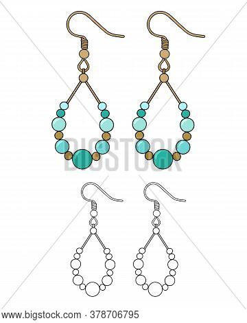 Handmade Jewelry: Earrings With Turquoise Beads. Vector Illustration Isolated On A White Background.