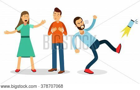 Angry Man Character Kicking Smartphone And Young Couple Quarreling Vector Illustration Set