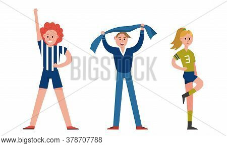 Man And Woman Characters Sports Fan Holding Scarf And Dancing Vector Illustration Set