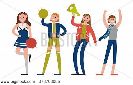 Woman Characters Sports Fan Holding Loud Speaker And Waving Hand Vector Illustration Set