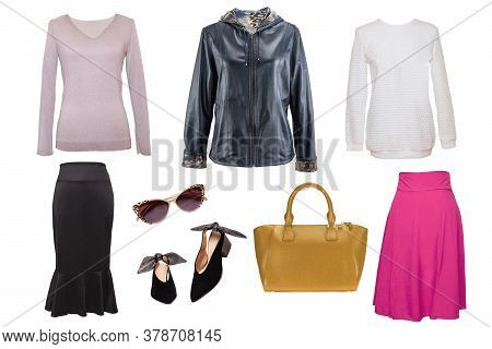 Collage Woman Clothes. Set Of Stylish And Trendy Women Jacket, Cashmere Sweater Or Wool Pullover, Sk