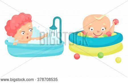Toddler Or Baby Playing With Balls And Bathing In Bathtub Vector Illustration Set
