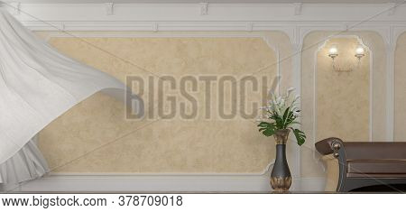 3d Render Of Living Room With Beige Stucco With Leather Brown Sofa And Vase