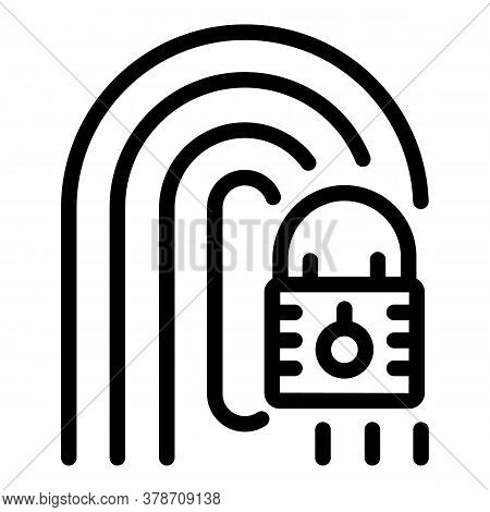 Locked Fingerprint Personal Information Icon. Outline Locked Fingerprint Personal Information Vector