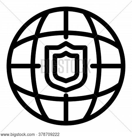 Global Secured Personal Information Icon. Outline Global Secured Personal Information Vector Icon Fo